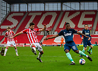 20th March 2021; Bet365 Stadium, Stoke, Staffordshire, England; English Football League Championship Football, Stoke City versus Derby County; Louie Sibley of Derby County takes a shot on goal