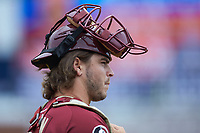 Jared Herron (16) of the Florida State Seminoles watches from the bullpen during the game against the Notre Dame Fighting Irish in Game Four of the 2017 ACC Baseball Championship at Louisville Slugger Field on May 24, 2017 in Louisville, Kentucky. The Seminoles walked-off the Fighting Irish 5-3 in 12 innings. (Brian Westerholt/Four Seam Images)