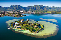 An aerial perspective of Coconut Island and the Ko'olau Range, Windward O'ahu.