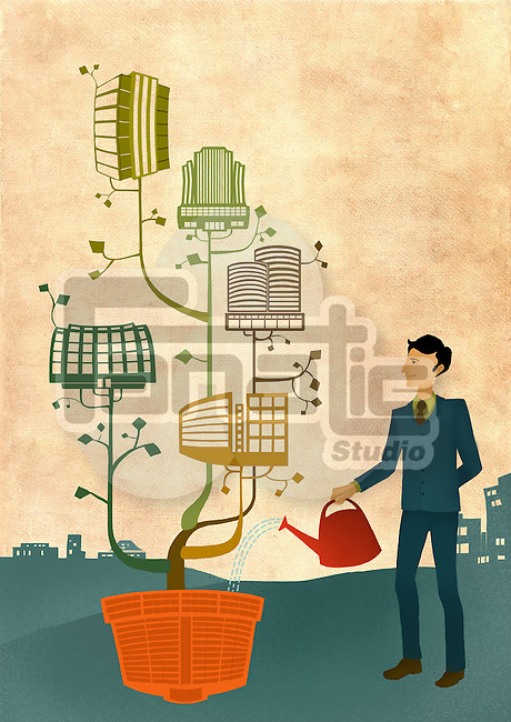 Businessman watering plant of buildings depicting growth of franchises