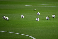 Several Puma balls are seen on the pitch prior to the Uefa Nation A League Group 1 football match between Italy and Netherlands at Atleti azzurri d Italia Stadium in Bergamo (Italy), October, 14, 2020. Photo Andrea Staccioli / Insidefoto