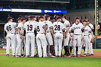 The Mississippi State Bulldogs huddle up prior to the start of their game against the Houston Cougars in game six of the 2018 Shriners Hospitals for Children College Classic at Minute Maid Park on March 3, 2018 in Houston, Texas. The Bulldogs defeated the Cougars 3-2 in 12 innings. (Brian Westerholt/Four Seam Images)
