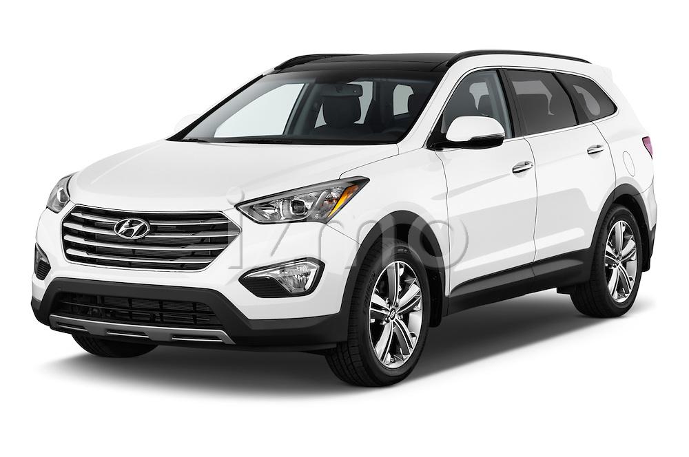 2014 Hyundai Santa Fe GLS 5 Door SUV Angular Front stock photos of front three quarter view