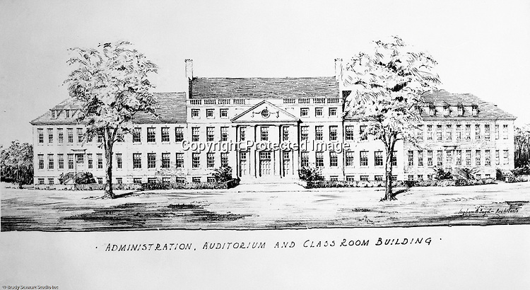 Pittsburgh PA:  View of an Ingham, Boyd and Pratt Architect's rendering of the Pennsylvania College for Women's new Administration, Auditorium and Classroom Building.  Pennsylvania College for Women changed it's name in 1955 to Chatham College.