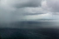aerial photograph of a rain downpour during a storm over the Pacific Ocean off of the shore of Nicaragua | fotografía aérea de un aguacero durante una tormenta en el Océano Pacífico frente a la costa de Nicaragua