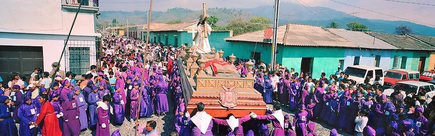 The holy week processions through the streets of the colonial city of Antigua, Guatemala, are the largest Semana Santa events in Latin America..Photograph by Peter E. Randall