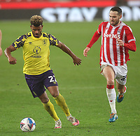Huddersfield Town's Fraizer Campbell in action with  Stoke City's Nick Powell<br /> <br /> Photographer Mick Walker/CameraSport<br /> <br /> The EFL Sky Bet Championship - Stoke City v HUddersfield Town - Saturday 21st November 2020 - bet365 Stadium - Stoke<br /> <br /> World Copyright © 2020 CameraSport. All rights reserved. 43 Linden Ave. Countesthorpe. Leicester. England. LE8 5PG - Tel: +44 (0) 116 277 4147 - admin@camerasport.com - www.camerasport.com