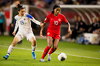 CARSON, CA - FEBRUARY 07: Jazmin Elizondo #19 of Costa Rica and Ashley Lawerance #10 of Canada move along the sideline during a game between Canada and Costa Rica at Dignity Health Sports Complex on February 07, 2020 in Carson, California.