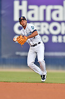 Asheville Tourists shortstop Coco Montes (5) fields the ball during a game against the Lexington Legends at McCormick Field on July 3, 2019 in Asheville, North Carolina. The Tourists defeated the Legends 10-6. (Tony Farlow/Four Seam Images)