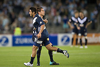 MELBOURNE, AUSTRALIA - OCTOBER 30: Carlos Hernandez of the Victory celebrates his goal with team mate Rodrigo Vargas during the round 12 A-League match between the Melbourne Victory and Adelaide United at Etihad Stadium on October 30, 2010 in Melbourne, Australia.  (Photo by Sydney Low / Asterisk Images)