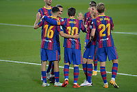 7th November 2020; Camp Nou, Barcelona, Catalonia, Spain; La Liga Football, Barcelona versus Real Betis;  Leo Messi Celebration after he scored from a penalty kick for 3-1 in the 62md minute