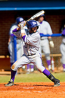 Willie Medina (3) of the High Point Panthers at bat against the Presbyterian Blue Hose at the Presbyterian College Baseball Complex on March 3, 2013 in Clinton, South Carolina.  The Blue Hose defeated the Panthers 4-1.  (Brian Westerholt/Four Seam Images)