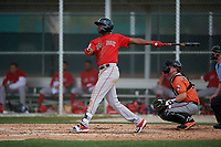 Boston Red Sox Marino Campana (48) bats during a Minor League Spring Training game against the Baltimore Orioles on March 20, 2019 at the Buck O'Neil Baseball Complex in Sarasota, Florida.  (Mike Janes/Four Seam Images)