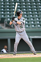 Second baseman Tyler Brown (50) of the Augusta GreenJackets bats in a game against the Greenville Drive on Wednesday, April 25, 2018, at Fluor Field at the West End in Greenville, South Carolina. Augusta won, 9-2. (Tom Priddy/Four Seam Images)