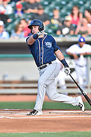 Mobile BayBears second baseman Brandon Drury (28) swings at a pitch during a game against the Tennessee Smokies on May 27, 2015 in Kodak, Tennessee. The Smokies defeated the BayBears 3-2. (Tony Farlow/Four Seam Images)