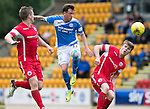 St Johnstone v Stirling Albion…30.07.16  McDiarmid Park. Betfred Cup<br />Danny Swanson gets between Bryan Hodge and Jack McCue<br />Picture by Graeme Hart.<br />Copyright Perthshire Picture Agency<br />Tel: 01738 623350  Mobile: 07990 594431