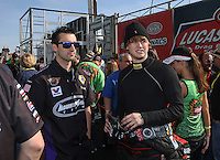 Mar. 17, 2013; Gainesville, FL, USA; NHRA funny car driver Blake Alexander (right) with pro stock driver Vincent Nobile during the Gatornationals at Auto-Plus Raceway at Gainesville. Mandatory Credit: Mark J. Rebilas-