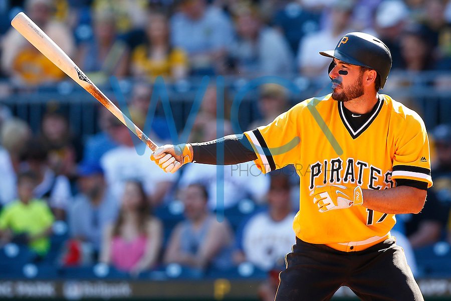 Matt Joyce #17 of the Pittsburgh Pirates in action against the Milwaukee Brewers during the game at PNC Park in Pittsburgh, Pennsylvania on April 17, 2016. (Photo by Jared Wickerham / DKPS)