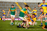 Brian Ó Beaglaoich, Kerry, in action against Pearse Lillis, Clare, during the Munster Football Championship game between Kerry and Clare at Fitzgerald Stadium, Killarney on Saturday.