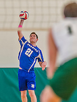 22 February 2015: Yeshiva University Maccabee Middle Blocker Jonathan Shedlo, a Sophomore from Baltimore, MD, makes his college athletic debut during a game against the Sage College Gators at the Kahl Gymnasium, in Albany, NY. The Maccabees fell to the Gators 3-0 in NCAA Division III Men's Volleyball Skyline play. Mandatory Credit: Ed Wolfstein Photo *** RAW (NEF) Image File Available ***