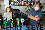Derek Nagle (front right) with Leanne Mulvihill in the bar of The Marine Hotel in Ballybunion as they prepare to reopen.