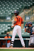 GCL Orioles shortstop Carlos Baez (1) at bat during a game against the GCL Rays on July 21, 2017 at Ed Smith Stadium in Sarasota, Florida.  GCL Orioles defeated the GCL Rays 9-0.  (Mike Janes/Four Seam Images)