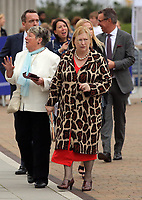 Pictured: Edwina Hart AM arrives at University Bay Campus. Saturday 14 October 2017<br /> Re: Hilary Clinton, the former US secretary of state and 2016 American presidential candidate will be presented with an honorary doctorate during a ceremony at Swansea University's Bay Campus in Wales, UK, to recognise her commitment to promoting the rights of families and children around the world.<br /> Mrs Clinton's great grandparents were from south Wales.
