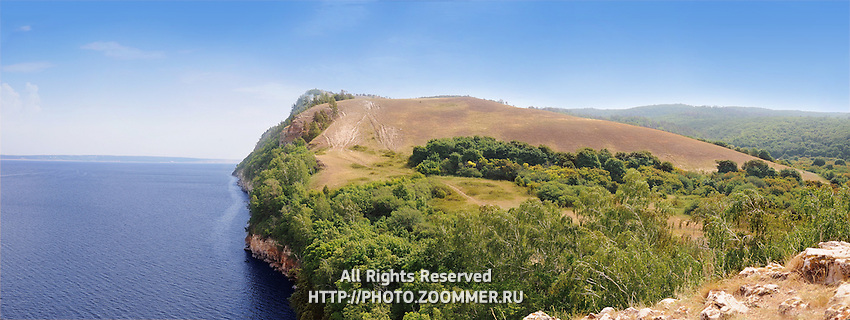 "Panorama of Molodetsky Barrow on the right bank of Volga river in Russian National Park ""Samara Luka"""