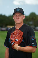 GCL Marlins Chris Mokma (44) poses for a photo after a Gulf Coast League game against the GCL Cardinals on August 12, 2019 at the Roger Dean Chevrolet Stadium Complex in Jupiter, Florida.  GCL Marlins defeated the GCL Cardinals 9-2.  (Mike Janes/Four Seam Images)