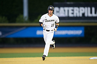Bruce Steel (17) of the Wake Forest Demon Deacons rounds the bases after hitting a 2-run home run against the West Virginia Mountaineers in Game Four of the Winston-Salem Regional in the 2017 College World Series at David F. Couch Ballpark on June 3, 2017 in Winston-Salem, North Carolina.  The Demon Deacons walked-off the Mountaineers 4-3.  (Brian Westerholt/Four Seam Images)
