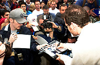 Montreal, June 5th 2001<br /> <br /> BAR team Formula One driver, JACQUES VILLENEUVE sign autographs for fans, June 5th 2001,<br />  in front of his new restaurant - dance club ``Newtown`` on Crescent Street in downtown MONTREAL , Canada.