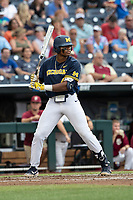 Michigan Wolverines designated hitter Jordan Nwogu (42) at bat during Game 6 of the NCAA College World Series against the Florida State Seminoles on June 17, 2019 at TD Ameritrade Park in Omaha, Nebraska. Michigan defeated Florida State 2-0. (Andrew Woolley/Four Seam Images)