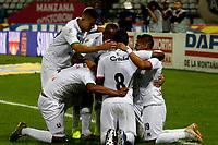 MANIZALES-COLOMBIA, 30-03-2019: Los jugadores de Once Caldas, celebran el gol anotado al Rionegro Águilas Doradas, durante partido de la fecha 12 entre Once Caldas y Rionegro Águilas Doradas, por la Liga de Aguila I 2019 en el estadio Palogrande en la ciudad de Manizales. / The players of Once Caldas, celebrate a scored goal to Rionegro Águilas Doradas, during a match of the 12th date between Once Caldas and Rionegro Aguilas Doradas, for the Aguila Leguaje I 2019 at the Palogrande stadium in Manizales city. Photo: VizzorImage  / Santiago Osorio / Cont.