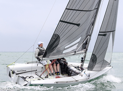 Ted, the East Coast SB20 Champion for 2021, showing how it's done – crew weight at optimum position amidships, and all lines neatly tidied away. Photo: Afloat.ie