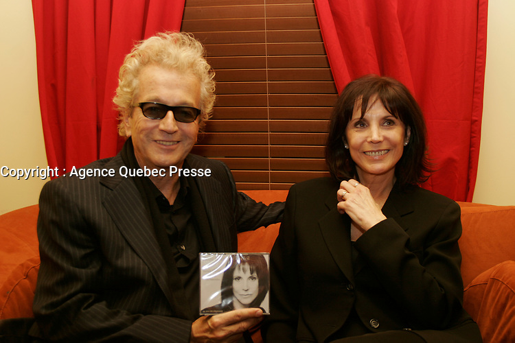 Luc Plamondon (L) anndRenee Claude<br /> at her  album launch, February 15 2006 at Lion D Or , Montreal.<br /> photo : Delphine descamps -