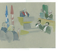 FILE IMAGE - Richard Henry Bain comparution at Montreal Justice Hall, January 9, 2013.<br /> <br /> <br /> <br /> Drawing : Agence Quebec Presse - Atalante
