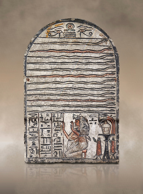"""Ancient Egyptian stele dedicated to Meretsesger, limestone, New Kingdom, 19th Dynasty, (1279-1213 BC), Deir el-Medina, Egyptian Museum, Turin. <br /> <br /> The stele is divided into 3 registers. In the top section 2 wedjat eyes with shen sign above 3 zigzag lines indicating water are depicted. The second, largest register, is divided into 12 horizontal strips. Each is occupied by a coloured snake facing to the right.In the bottom register 3 columns of hieroglyphic text worship the goddess Meretseger: """"life, strength and health to the ka and the lady of the house Wab, the justified."""" To the right of the text the deceased woman is kneeling with her hands raised in adoration. She  wears a white robe. A lotus flower is placed on top of her wig. Behind her head there are 4 hieroglyphic signs that form the phrase """"at peace"""". To the right of the scene there is an offering table with a vessel flanked by a bunch of lotus flowers. Below the table there are 2 vessels on pedestals."""