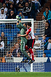 Goalkeeper Keylor Navas of Real Madrid saves the ball during the La Liga 2017-18 match between Real Madrid and Athletic Club Bilbao at Estadio Santiago Bernabeu on April 18 2018 in Madrid, Spain. Photo by Diego Souto / Power Sport Images