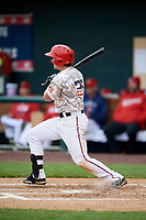Harrisburg Senators designated hitter Dan Gamache (21) follows through on a swing during the second game of a doubleheader against the New Hampshire Fisher Cats on May 13, 2018 at FNB Field in Harrisburg, Pennsylvania.  Harrisburg defeated New Hampshire 2-1.  (Mike Janes/Four Seam Images)