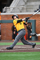 Appalachian State Mountaineers shortstop Joel McDaniel (9) swings at a pitch during a game against the Tennessee Volunteers at Lindsey Nelson Stadium on February 16, 2019 in Knoxville, Tennessee. The Volunteers defeated Mountaineers 2-0. (Tony Farlow/Four Seam Images)