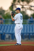 Charlotte Stone Crabs relief pitcher Reece Karalus (21) during a game against the Dunedin Blue Jays on June 5, 2018 at Charlotte Sports Park in Port Charlotte, Florida.  Dunedin defeated Charlotte 9-5.  (Mike Janes/Four Seam Images)
