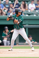 Second baseman Nick Gonzales (2) of the Greensboro Grasshoppers in a game against the Greenville Drive on Tuesday, July 20, 2021, at Fluor Field at the West End in Greenville, South Carolina. (Tom Priddy/Four Seam Images)