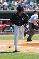 Charleston River Dogs infielder Isiah Gilliam (25) at bat during a game against the Lakewood BlueClaws at Joseph P. Riley, Jr. Ballpark on May 3, 2017 in Charleston, South Carolina. Lakewood defeated Charleston 11-6. (Robert Gurganus/Four Seam Images)