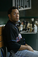 Roberto Alomar of the New York Mets during a 2003 season MLB game at Angel Stadium in Anaheim, California. (Larry Goren/Four Seam Images)