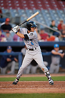 Hudson Valley Renegades second baseman Garrett Giovannelli (4) at bat during a game against the Connecticut Tigers on August 20, 2018 at Dodd Stadium in Norwich, Connecticut.  Hudson Valley defeated Connecticut 3-1.  (Mike Janes/Four Seam Images)