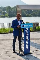 Le chef du Bloc Québécois, Yves-François Blanchet était de passage dans la circonscription de Beloeil-Chambly, lors de l'ouverture de son local électoral à Beloeil le 21 août 2021, dans le cadre de l'élection fédérale 2021.<br /> <br /> PHOTO : Agence Quebec Presse - Mathieu Tye