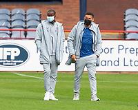 25th September 2021; Dens Park, Dundee, Scotland: Scottish Premiership football, Dundee versus Rangers; Glen Kamara and James Tavernier of Rangers inspect the pitch before the match