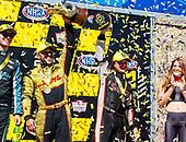 NHRA Mello Yello Drag Racing Series<br /> Toyota NHRA Sonoma Nationals<br /> Sonoma Raceway, Sonoma, CA USA<br /> Sunday 30 July 2017 J.R. Todd, DHL, funny car, Toyota, Camry, victory, celebration, trophy<br /> <br /> World Copyright: Mark Rebilas<br /> Rebilas Photo