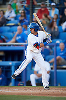 Dunedin Blue Jays shortstop J.C. Cardenas (2) at bat during a game against the Clearwater Threshers on April 8, 2017 at Florida Auto Exchange Stadium in Dunedin, Florida.  Dunedin defeated Clearwater 12-6.  (Mike Janes/Four Seam Images)