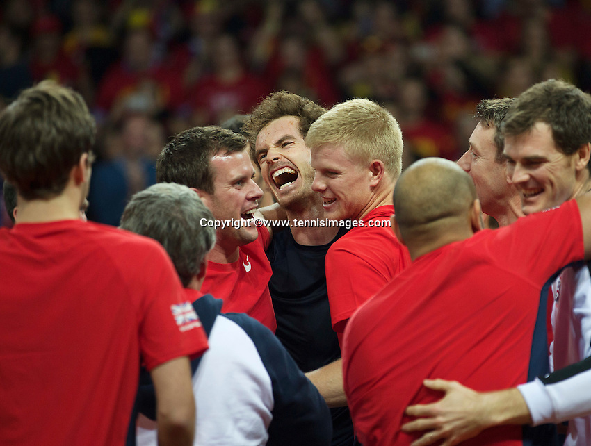 Gent, Belgium, November 29, 2015, Davis Cup Final, Belgium-Great Britain, day three, Andy Murray (GBR) celebrates with his team members,  Great Britain wins the Davis Cup 2015.<br /> Photo: Tennisimages/Henk Koster